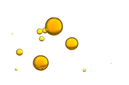Foto de Yellow air bubbles isolated over a white background - Imagen libre de derechos