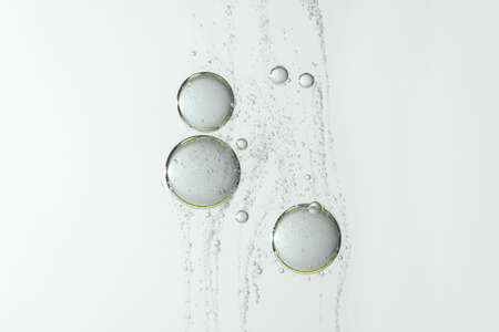 Photo for Water bubbles floating over a gray and blurred background - Royalty Free Image
