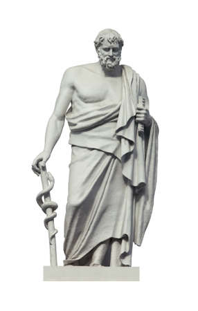 Photo for Statue of the great ancient greek phisician Hippocrates. Isolated on white - Royalty Free Image