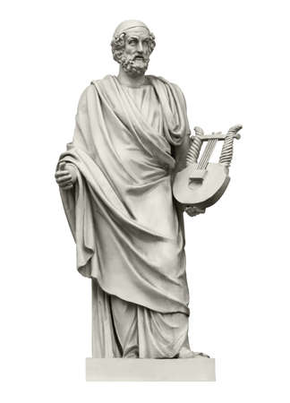 Photo for Statue of the ancient Greek  poet Homer, the author of the Iliad and the Odyssey. Isolated on white - Royalty Free Image