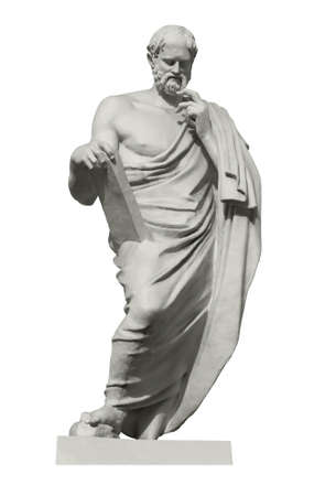 Photo pour Statue of Euclid, the great ancient Greek mathematician, the founder of geometry. Isolated on white - image libre de droit
