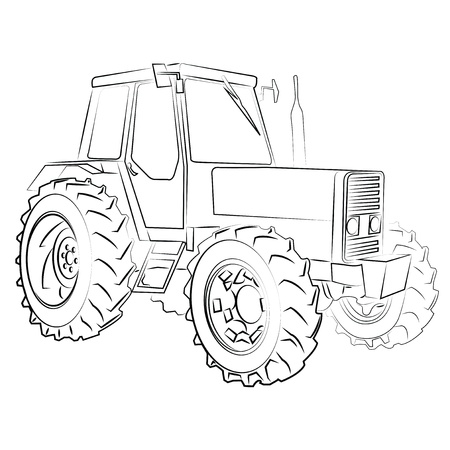 Illustration pour Tractor isolated on white - image libre de droit