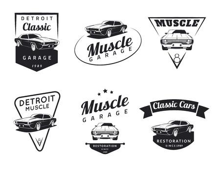 Ilustración de Set of classic muscle car emblems, badges and icons. Service car repair and restoration design elements - Imagen libre de derechos