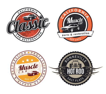 Illustration pour Set of classic muscle car emblems, badges and signs. Service car repair, restoration  and car club design elements. Hot rod sign. - image libre de droit