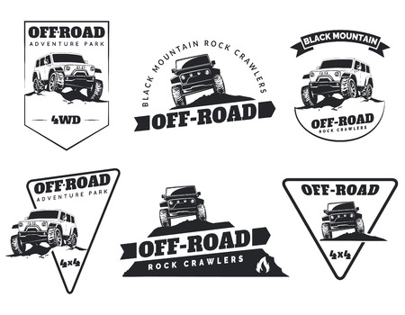 Illustration pour Set of classic off-road suv car emblems, badges and icons. Rock crawler car, off-road suv adventure and car club design elements. Isolated suv front and side view. - image libre de droit