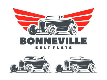 Ilustración de Retro Hot Rod with stylized wings logo. Bonneville salt flats racing logo. Roadster and coupe Hot Rod isolated on white background. - Imagen libre de derechos