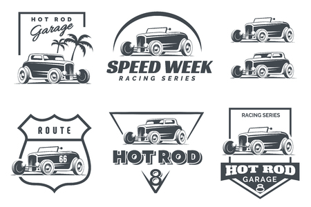 Ilustración de Set of Hot Rod logo, emblems and icons. Roadster and coupe hot rod illustration isolated on white background. - Imagen libre de derechos