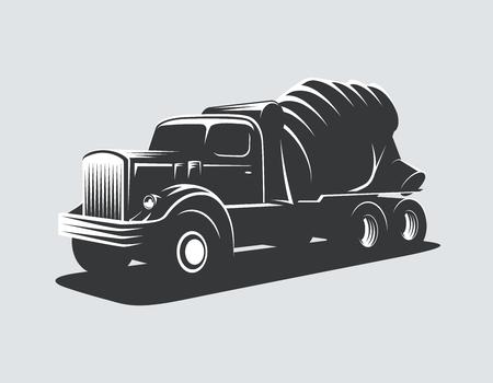 Illustration pour Classic concrete mixer truck vector illustration. - image libre de droit
