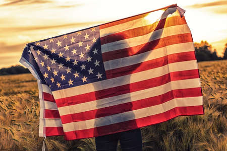 Foto de Silhouette of African American girl teenager female young woman in field of wheat or barley crops holding USA stars and stripes flag in golden sunset evening sunshine - Imagen libre de derechos