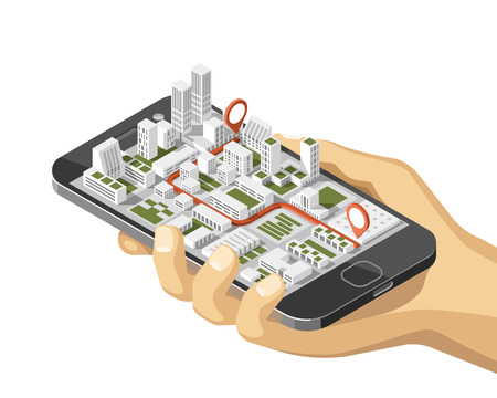 Illustration pour Mobile gps and tracking concept. Location track app on touchscreen smartphone, on isometric city map background. 3d vector illustration. - image libre de droit