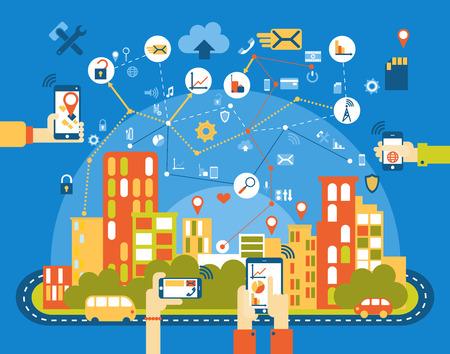 Illustration pour Smart city flat. Cityscape background with different icon and elements. Modern architecture. Mobile phone control. - image libre de droit