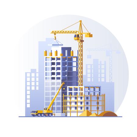 Illustration pour Construction of residential buildings. Construction site concept design. Flat style vector illustration. - image libre de droit