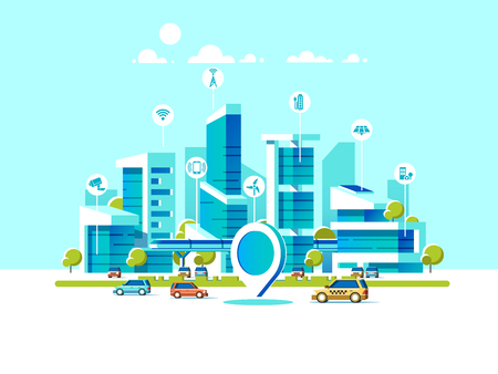 Illustration pour Smart city flat. Cityscape background with different icon and elements. - image libre de droit