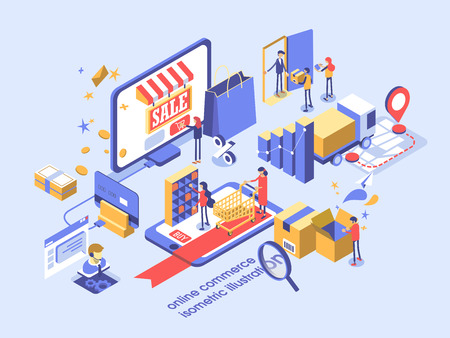 Illustration pour Electronic commerce online concept isometric illustration. - image libre de droit