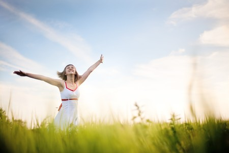 Photo for happy young woman enjoying nature - Royalty Free Image