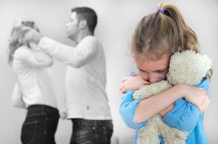 Photo pour Parents quarreling at home, child is suffering. - image libre de droit