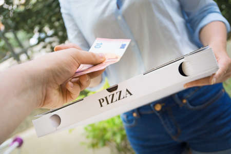 Photo pour Woman delivering pizza in box and taking payment. - image libre de droit