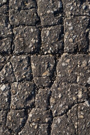 Photo for Macro texture of old cracked asphalt - Royalty Free Image