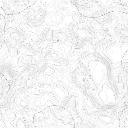 Illustration pour Seamless pattern. Topographic map background with space for copy Seamless texture. geographic grid abstract vector illustration . Mountain hiking trail terrain . - image libre de droit