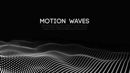 Illustration pour 3D glowing abstract digital wave particles. Futuristic vector illustration. HUD element. Technology concept. Abstract background. - image libre de droit