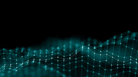 Photo pour 3d Abstract Background Network concept . Future background Technology illustration. 3d landscape. Big data. Wireframe Landscape with connections dots and lines on dark background. - image libre de droit