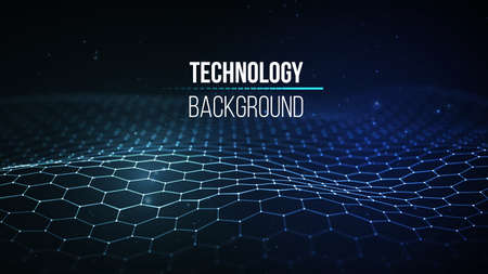 Illustration pour Abstract technology background. Background 3d grid.Cyber technology Ai tech wire network futuristic wireframe. Artificial intelligence . Cyber security background - image libre de droit