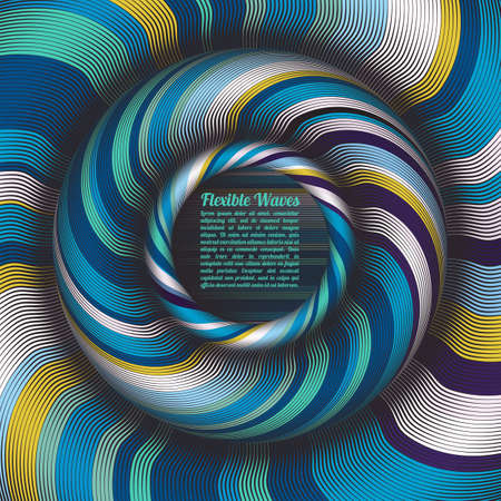Illustrazione per Abstract vector background, waved lines vector illustration colorful design. Wavy stripes twisted as silk . Colored stripes with variable width. - Immagini Royalty Free