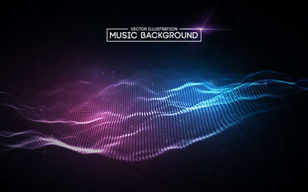 Ilustración de Music abstract background blue. Equalizer for music, showing sound waves with music waves, music background equalizer vector concept. - Imagen libre de derechos