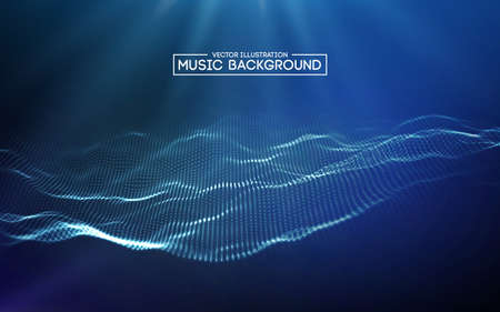 Illustration pour Music abstract background blue. Equalizer for music, showing sound waves with music waves, music background equalizer vector concept. - image libre de droit