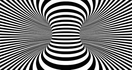 Illustration pour Optical illusion lines background. Abstract 3d black and white illusions. Conceptual design of optical illusion vector. - image libre de droit