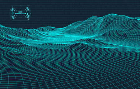 Illustration pour Big data visualization. Background 3d .Big data connection background. Cyber technology Ai tech wire network futuristic wireframe data visualisation. Vector illustration . Artificial intelligence . - image libre de droit