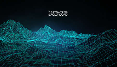 Illustration pour Abstract vector wireframe landscape background. Cyberspace grid. 3d technology wireframe vector illustration. Digital wireframe landscape. - image libre de droit