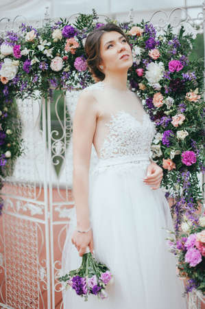 Photo for Beautiful bride posing at field of lavender - Royalty Free Image