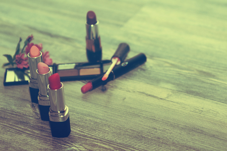 Photo for Cosmetics set. with cosmetic products and cosmetic ingredients. - Royalty Free Image