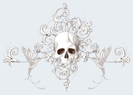 Illustration pour Vintage decorative element engraving with Baroque ornament, skull and birds. Hand drawn vector illustration - image libre de droit