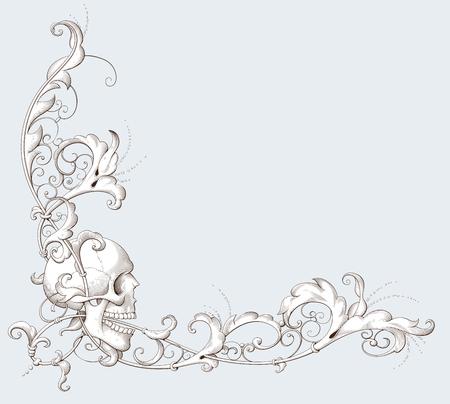 Illustration pour Vintage decorative element engraving with Baroque ornament and skull. Hand drawn vector illustration - image libre de droit