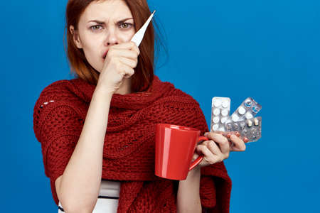 woman is sick with the flu.