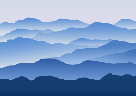 Illustration pour Silhouette of the mountains in the morning in the vector - image libre de droit