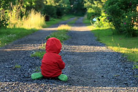 Photo for lonely little child crying and sad about on the way - Royalty Free Image