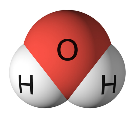 Foto de Water molecule. Oxygen - red, hydrogen - white - Imagen libre de derechos