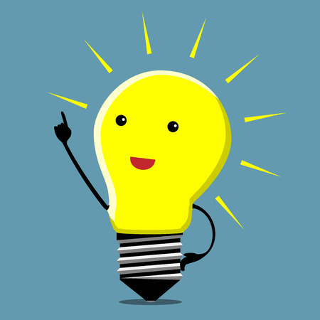 Illustration pour Light bulb character in moment of insight  - image libre de droit