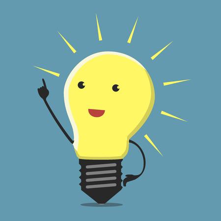 Ilustración de Inspired light bulb character, aha moment  - Imagen libre de derechos