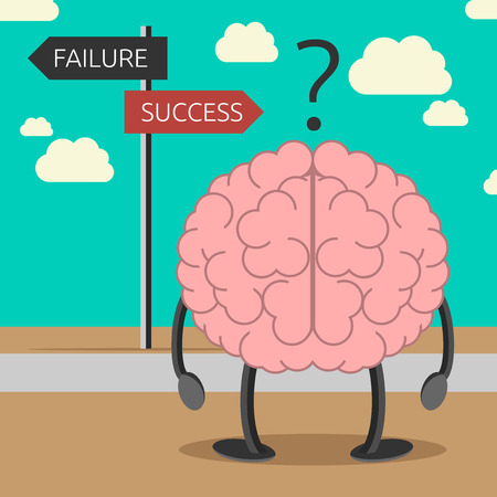 Illustration pour Brain character choosing its way between failure and success. Success consciousness, positive thinking, faith, self-suggestion concept. EPS 10 vector illustration, no transparency - image libre de droit