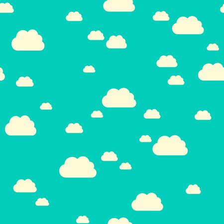 Illustration pour Seamless pattern of sunlit clouds on turquoise blue sky. - image libre de droit