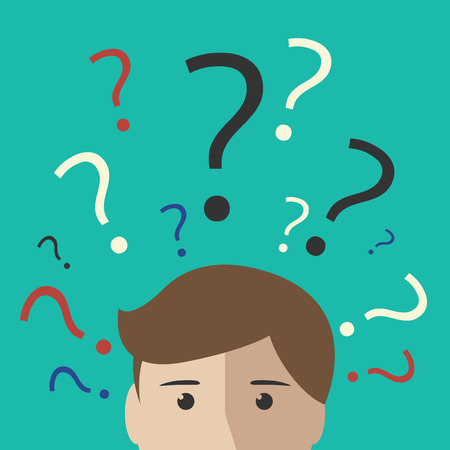 Illustration pour Many multicolor question marks above the head of young man or boy. Making decision thinking uncertainty learning concept. EPS 10 vector illustration no transparency - image libre de droit