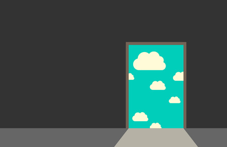 Illustration for Door leading from dark gray room to blue sky with clouds and bright daylight. Great dreams freedom hope faith real life beginning concept. EPS 10 vector illustration no transparency - Royalty Free Image