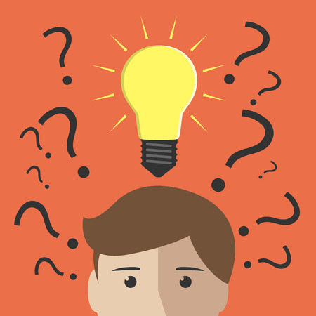Illustration pour Question marks and one glowing light bulb above head of young man or boy. Insight, inspiration, eureka, aha moment, making decision, thinking concept. EPS 10 vector illustration, no transparency - image libre de droit