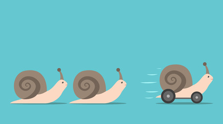 Illustration pour Unique successful fast moving snail with wheels in front of some slow ones. Competition, competitive advantage and innovation concept. Flat design. EPS 8 vector illustration, no transparency - image libre de droit