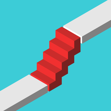 Illustration pour Isometric red steps bridging gap between two levels on turquoise blue. Abrupt career ladder, sudden rise, growth and challenge concept. Flat design. Vector illustration, no transparency, no gradients - image libre de droit