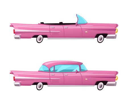 Illustration pour Retro car. Vintage lowrider. Cartoon vector illustration. Oldschool style. For stickers, banners logo - image libre de droit
